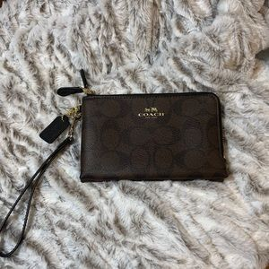 Coach Double Zip Leather Wallet Wristlet